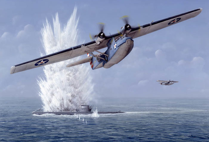 Feight Don. Летающая лодка атакует подлодку.