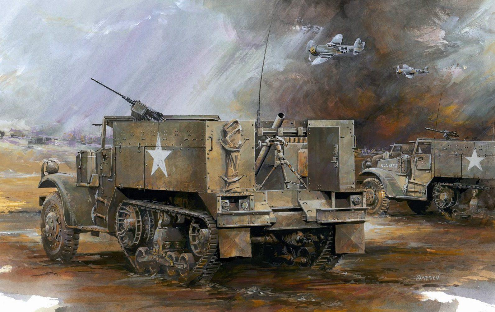 Jameson. Передвижной 81-mm миномет Halftrack M-4A1.