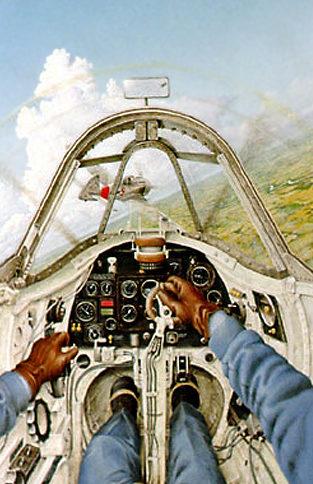 Larsen Layne. В кабине истребителя Spitfire Mk.IIA.