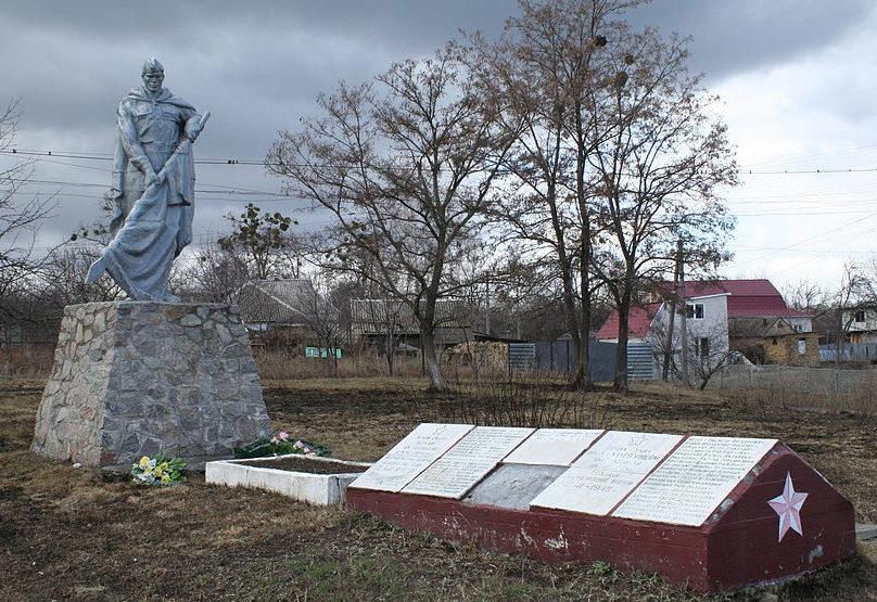 с. Халепье Обуховского р-на. Памятник у сельского совета, установленный в 1961 году на братской могиле воинов, погибших в годы войны.