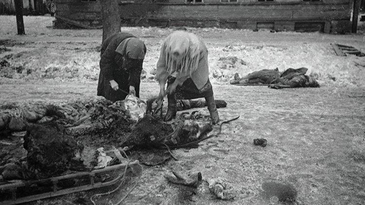 Женщины собирают останки убитой лошади. 1942 г.