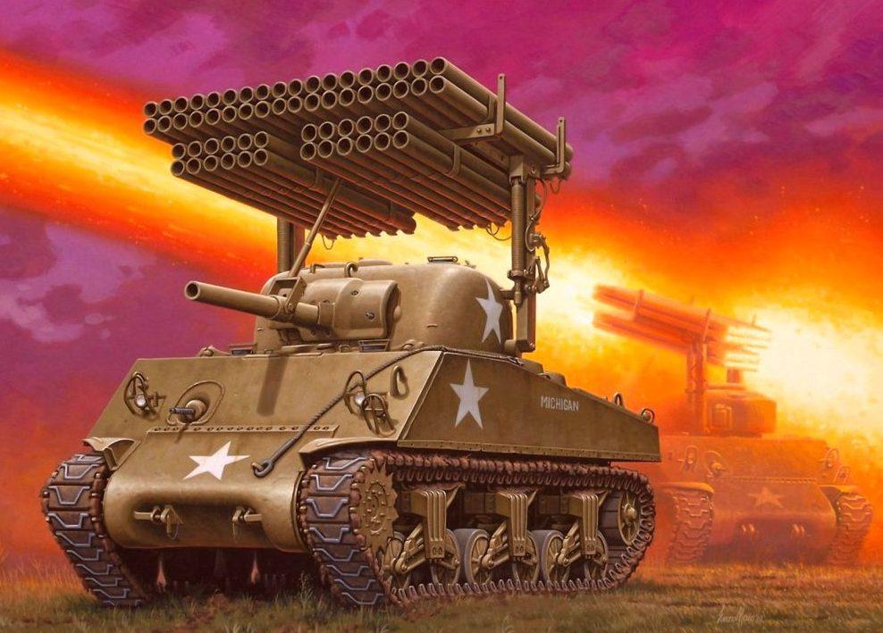 Maio Enzo. Танк M-4A1 Sherman с пусковой установкой М-17.