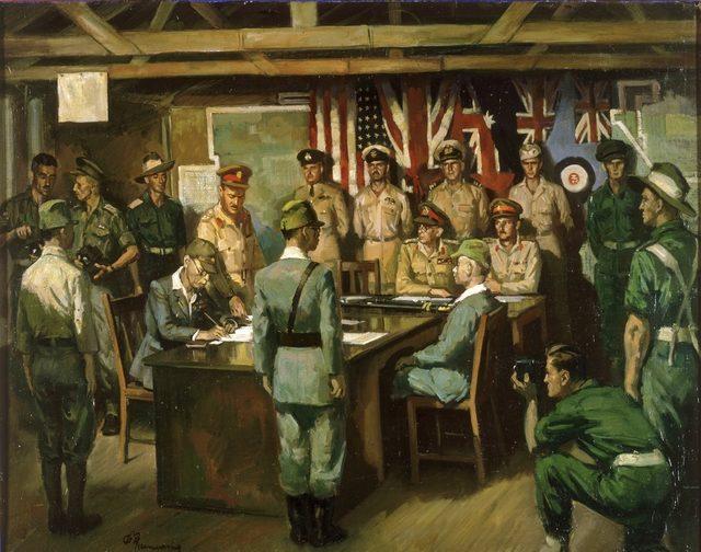 Mainwaring Geoffrey. Подписание капитуляции 8 сентября 1945 г.