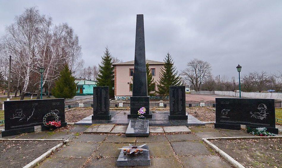 с. Волчков Полесского р-на. Памятник у сельского совета воинам-односельчанам, погибшим в годы войны.