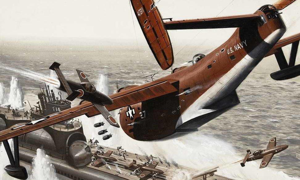 Künstler Mort. Атака на подводный авианосец.