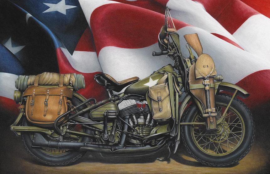 McKeand Russell. Мотоцикл WLA Harley Davidson.