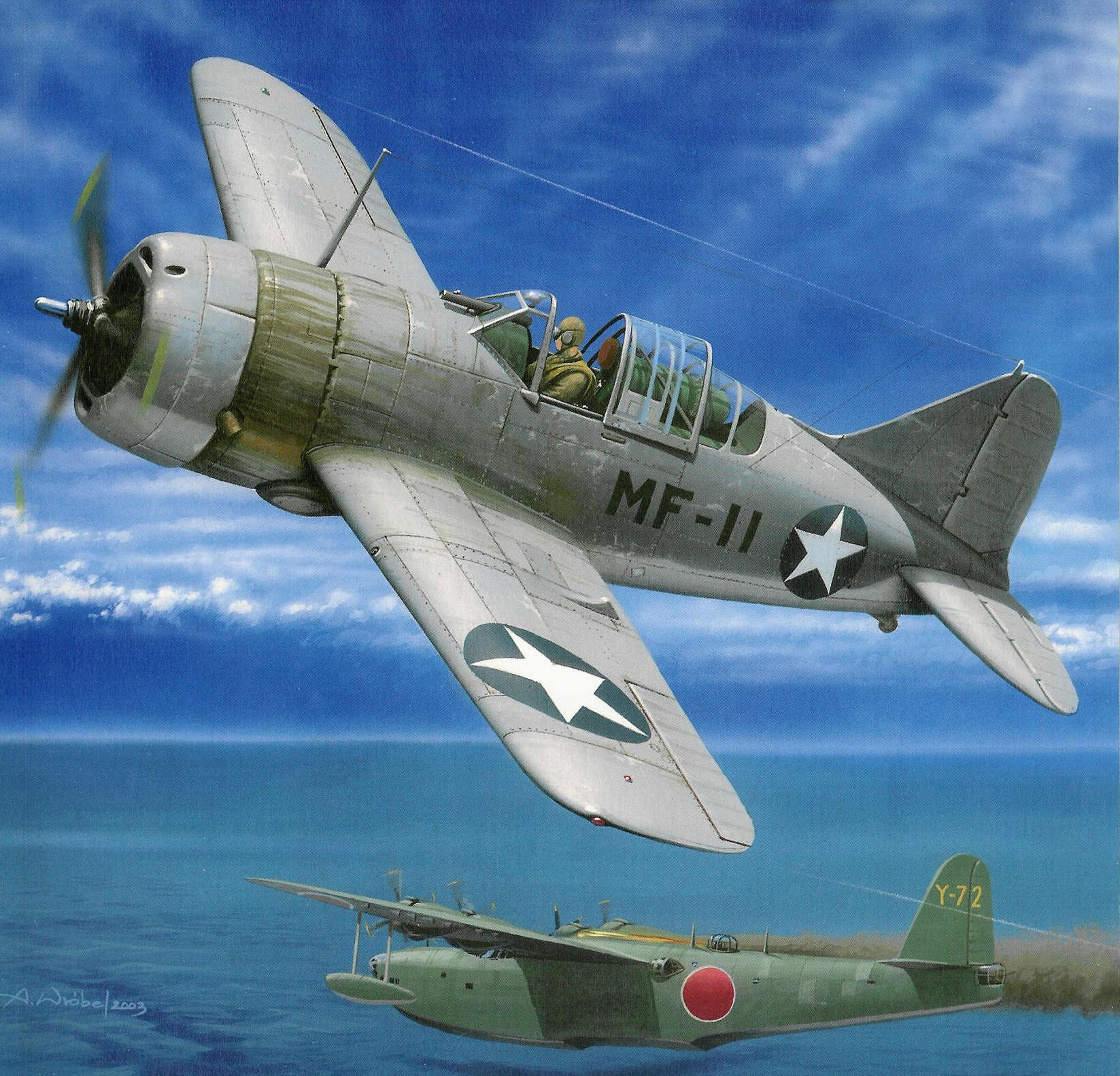 Wróbel Arkadiusz. Истребитель Brewster F-2A Buffalo.