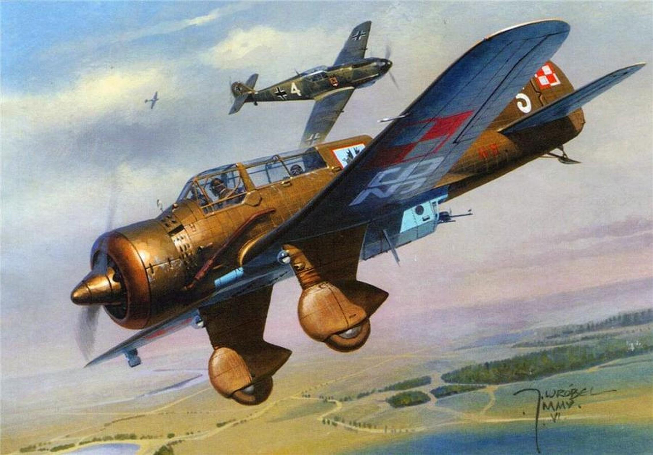 Wrobel Jaroslaw. Бой польского PZL.23 Karaś и немецкого Bf-109.