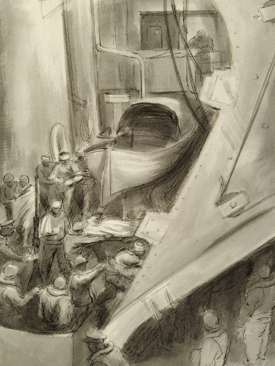 Jamieson Mitchell. Раненные на десантном корабле.