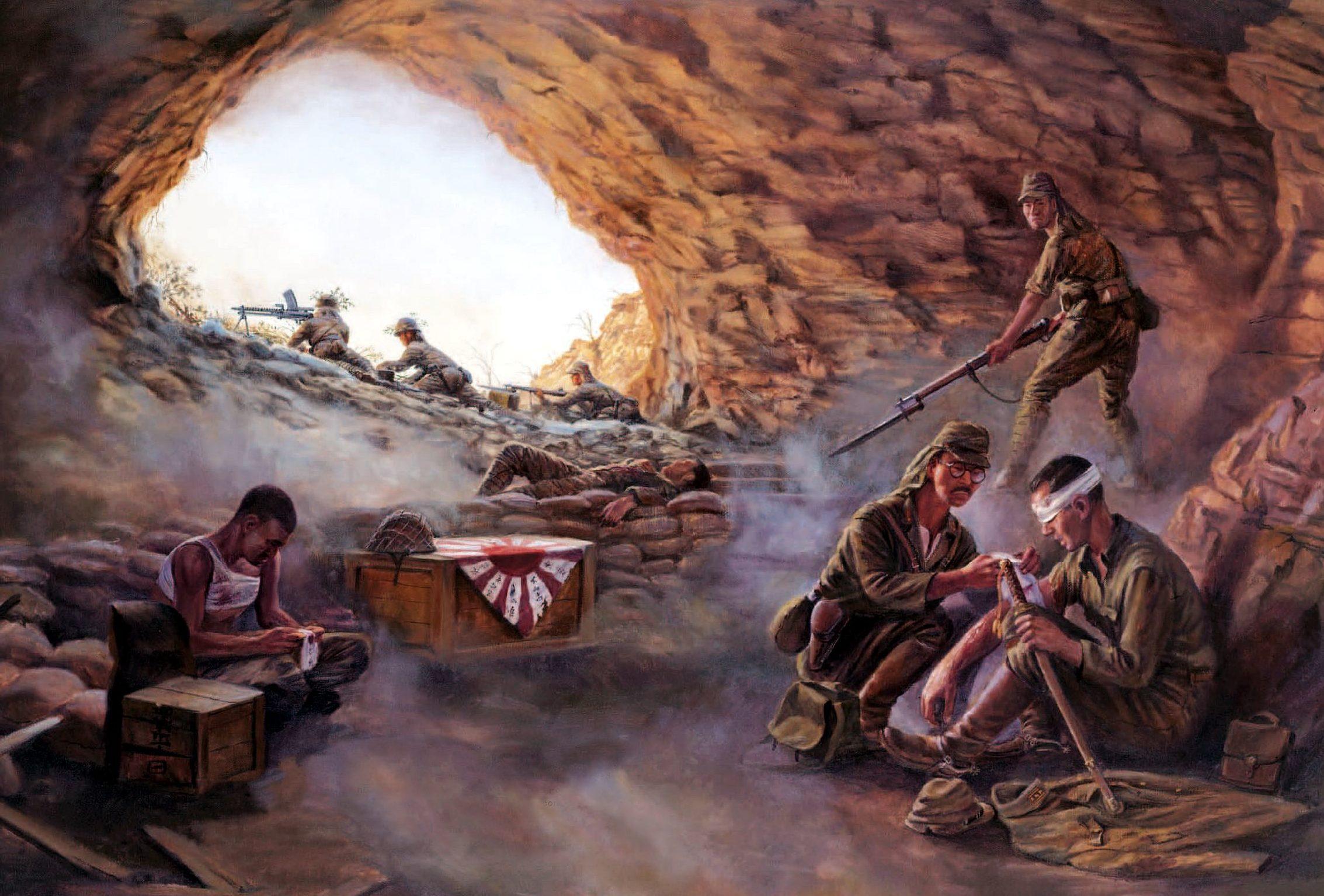Laurier Jim. Японские солдаты в пещерах.