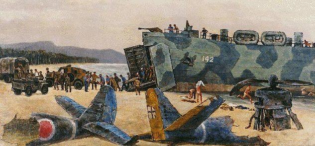 Hirsch Joseph. Эвакуация раненных десантным кораблем LST.