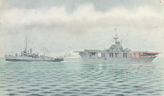 McBryde John. Корветы «Kalgoorlie » и «Whyalla» сопровождают авианосец.