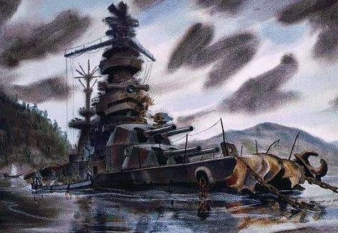 Backus Standish. Линкор «Hyuga» на дне залива Niro.