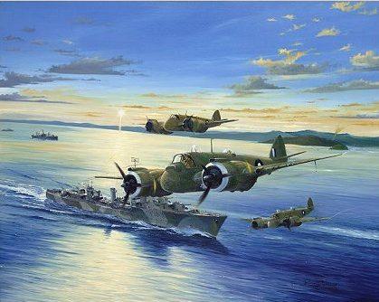 Wilson Randall. Истребители Beaufighters над эсминцем Arunta.