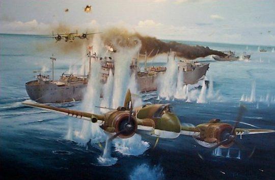 Wilson Randall. Бомбардировщик В-25 атакует линкор Bismarck.
