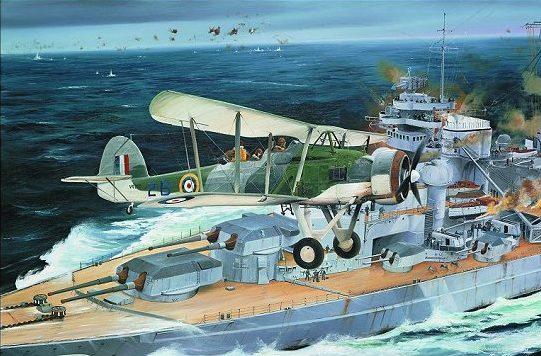 Wilson Randall. Торпедоносец Swordfish над линкором Bismarck.