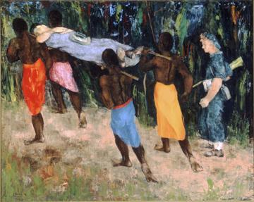 Sali Herman. Аборигены переносят раненных.