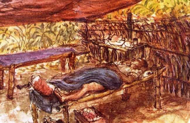 Baer Howard. Раненные под навесом. Бирма.