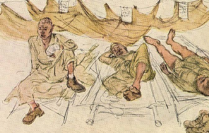 Baer Howard. Раненные под защитой москитных сеток.