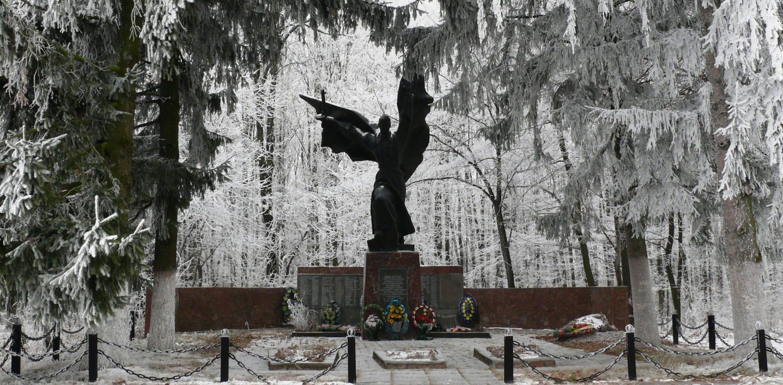 с. Голодьки Тетиевского р-на. Памятник, установленный на братской могиле, в которой похоронено 377 воинов, в т.ч. 300 неизвестных, погибших в годы войны.