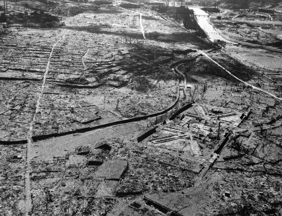 Аэрофотосъемка города Нагасаки после атомной бомбардировки. Август 1945 г.