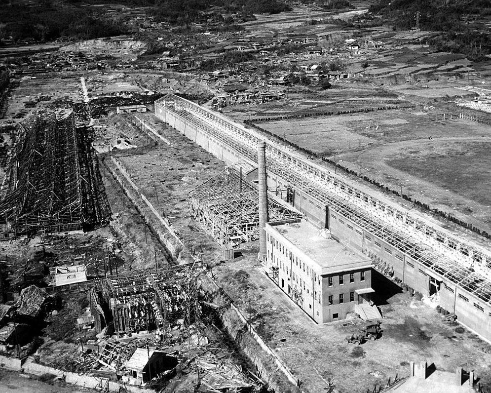 Вид на разрушенный Нагасаки с высоты. Август 1945 г.