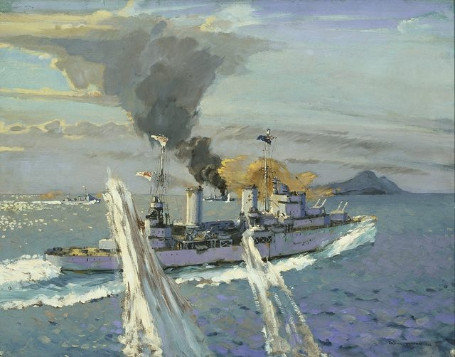 Norton Frank. Крейсер «Sydney» ведет бой с итальянскими крейсерами.