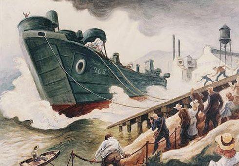 Benton Thomas Hart. Спуск на воду LST 768.