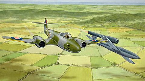 Bowley Colin. Истребитель Gloster Meteor перехватывает V-1.