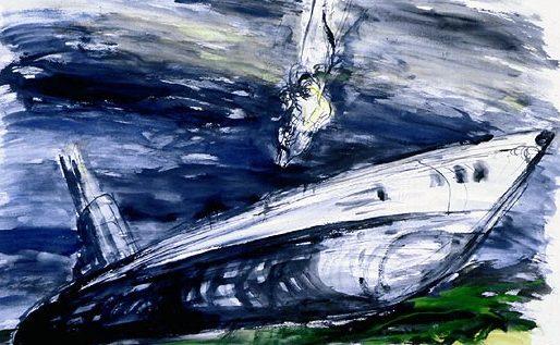 Groth John. Водолаз у затонувшей лодки.