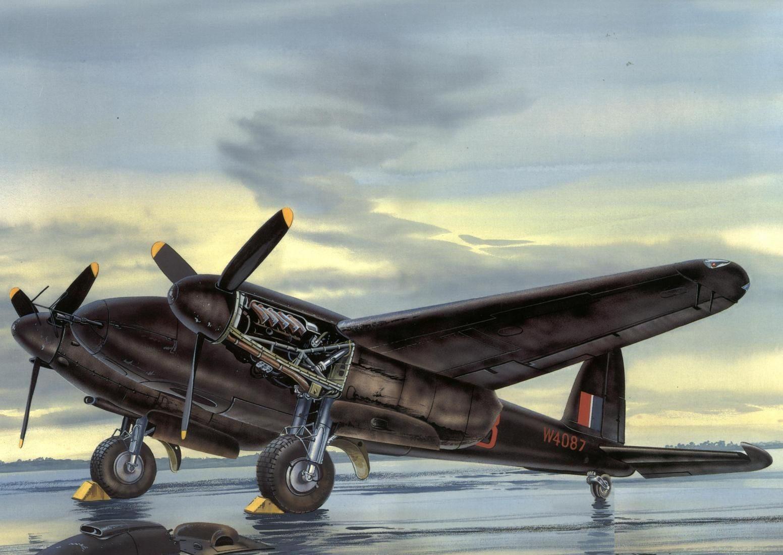 Greer Don. Истребитель Mosquito на аэродроме.