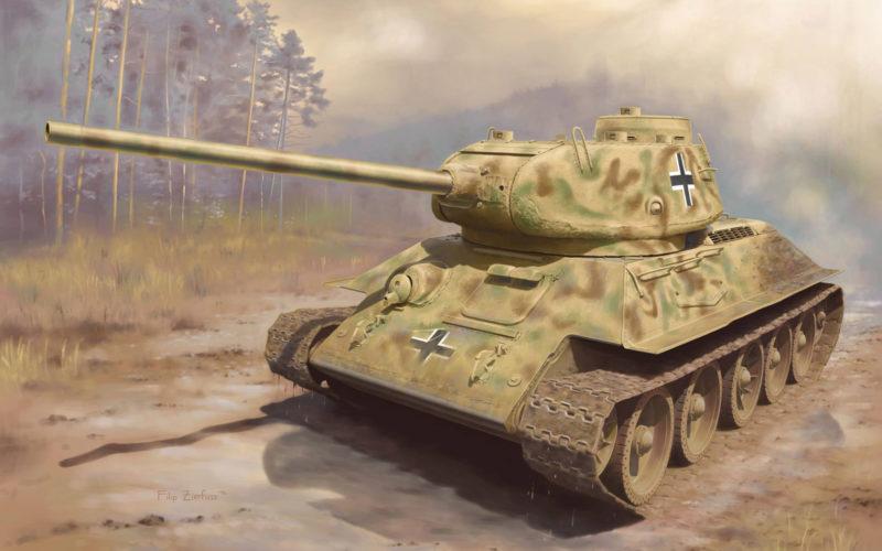 Zierfuss Filip. Трофейный танк Panzerkampfwagen T-34/85.