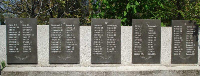 Мемориальные доски с именами погибших.