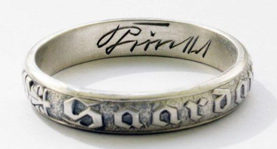 Кольцо в память присоединения Саарской области изготовлено из серебра 925-ой пробы.