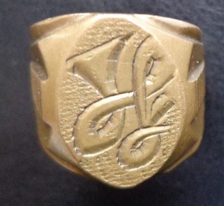 Военное латунное позолоченное кольцо. 1940 г.