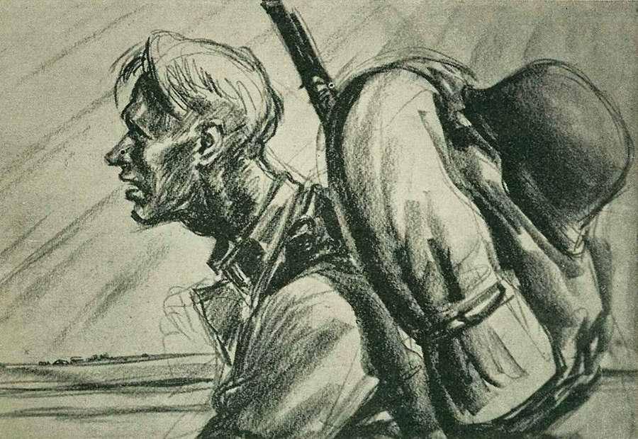 Wigforss Finn. Солдат норвежского легиона СС на марше.