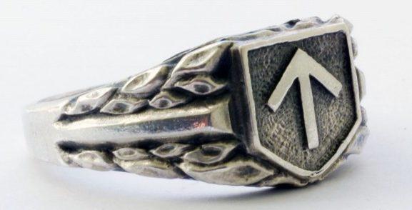 На щитке перстня рельефное изображение символа 32-й добровольческой пехотной дивизии СС «30 января». По сторонам щитка - изображения растительного орнамента. Кольцо изготовлено из серебра 830-ой пробы с применением чернения.