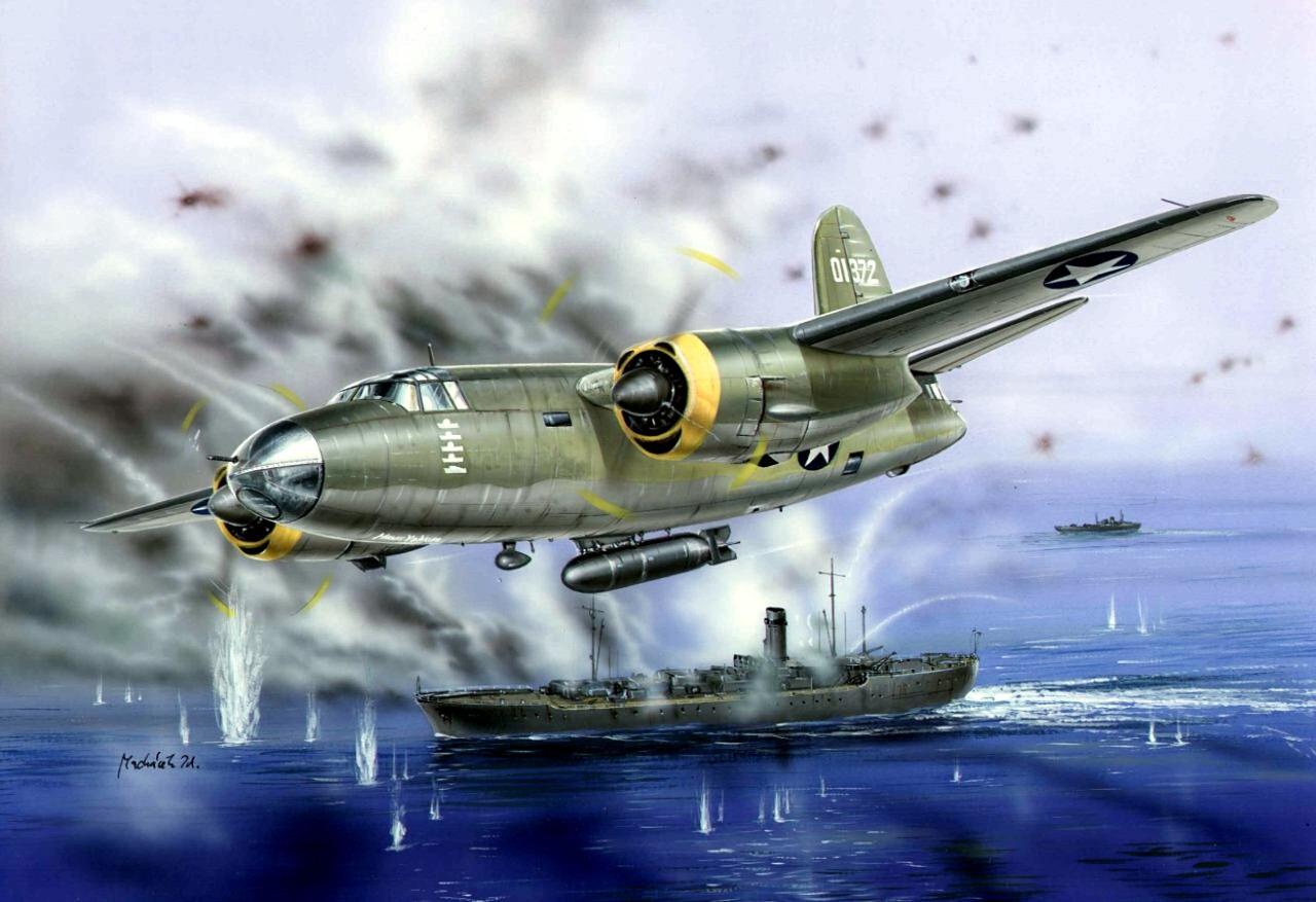 Machácek Zdenek. Атака бомбардировщика B-26 «Marauder».