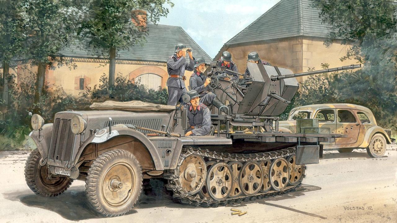 Volstad Ronald. ЗСУ 2-cm Flak 30 на базе Sd.Kfz. 10-4.