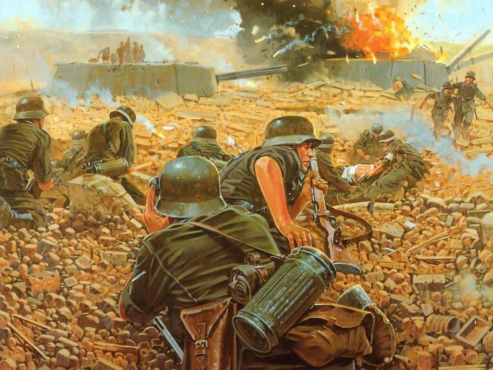 Wai Vincent. Немецкие саперы подрывают советскую артиллерийскую береговую батарею.