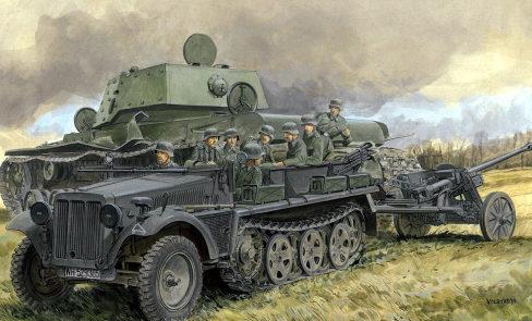 Volstad Ronald. Полугусеничный тягач SdKfz-10 с пушкой Pak 50.