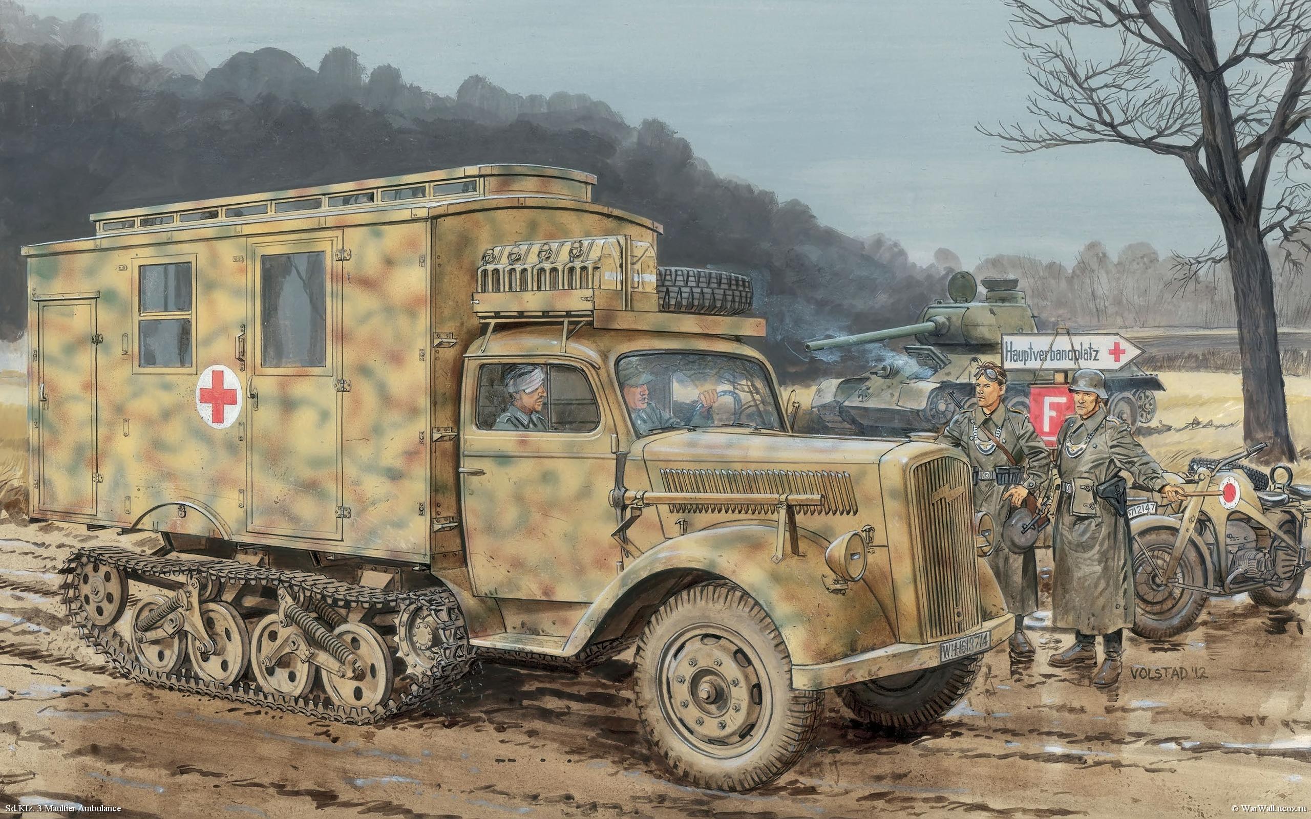 Volstad Ronald. Полугусеничный транспортер Sd.Kfz. 3 Maultier Ambulance.