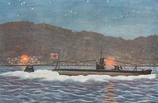 Mikuriya Junkichi. Подлодка обстреливает побережье Калифорнии.