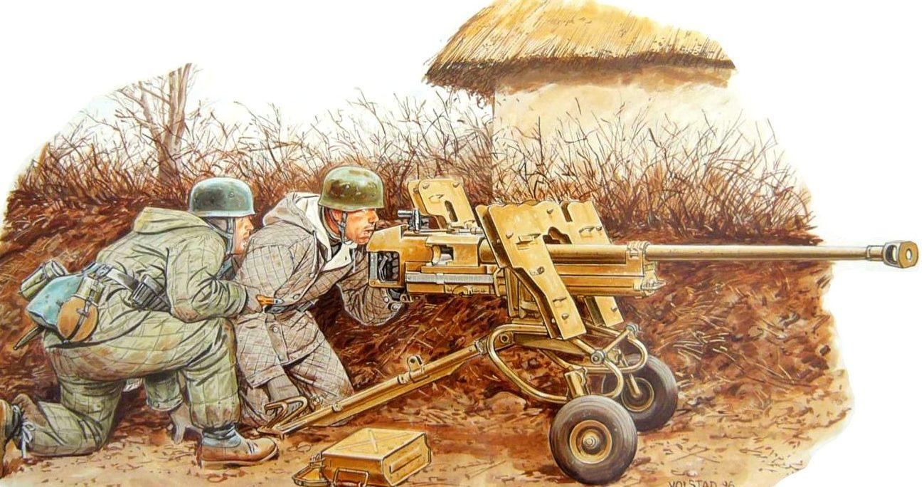 Volstad Ronald. Расчет 28/20-мм тяжелого противотанкового ружья s.Pz.B.41.