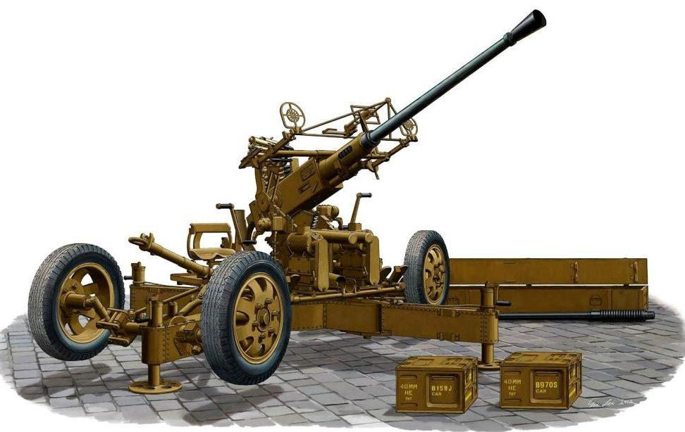 Su Lei. Зенитное орудие 40-mm Bofors AA QF Mk.I.