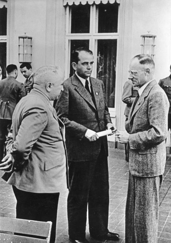 Герберт Баке, Альберт Шпеер и Роберт Лей. 1942 г.