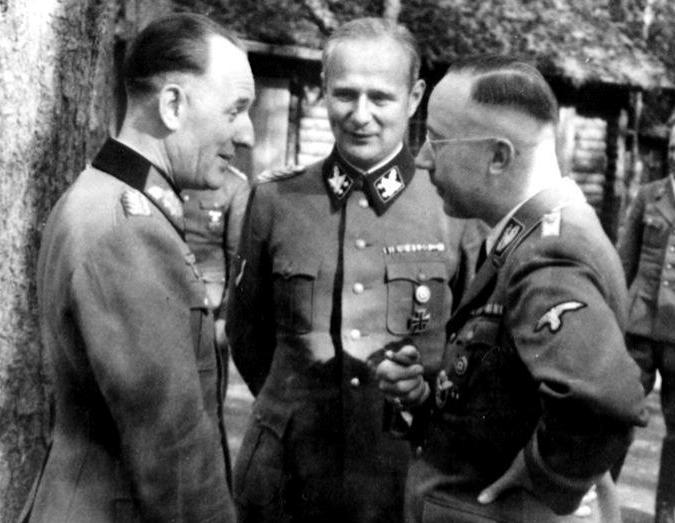 Карл Вольф, Рудольф Шмундт и Генрих Гиммлер. 1941 г.