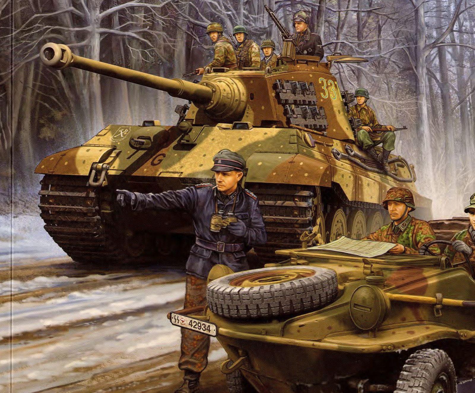 Wai Vincent. Танк Pz.Kpfw. VI Ausf. B и внедорожник Kamfgruppe Peiper.