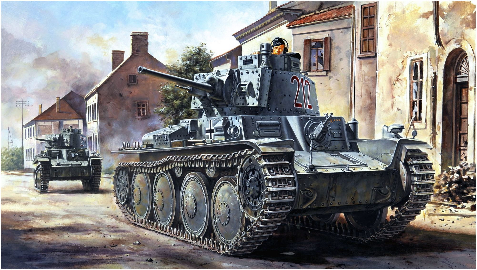 Onishi Masami. Немецкие танки в городе.