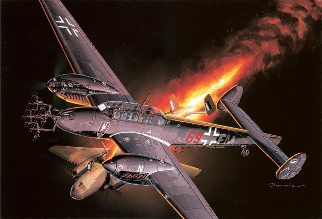 Satake Masao. Истребитель Bf-110D.
